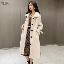 Women 100% Wool Coats Long 2018 Fashion Winter Lambs Fur Female Jackets Loose Big Code Overcoat Thick Warm Fur
