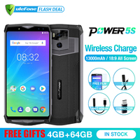 Ulefone Power 5s 13000mAh Mobile Phone Android 8.1 6.0 FHD MTK6763 Octa Core 4GB+64GB 21MP Face ID Wireless Charge Smartphone