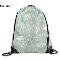 3D Print Rain Patterns Shoulders Bag Women Fabric Backpack Girls Beam Port Drawstring Travel Shoes Dust