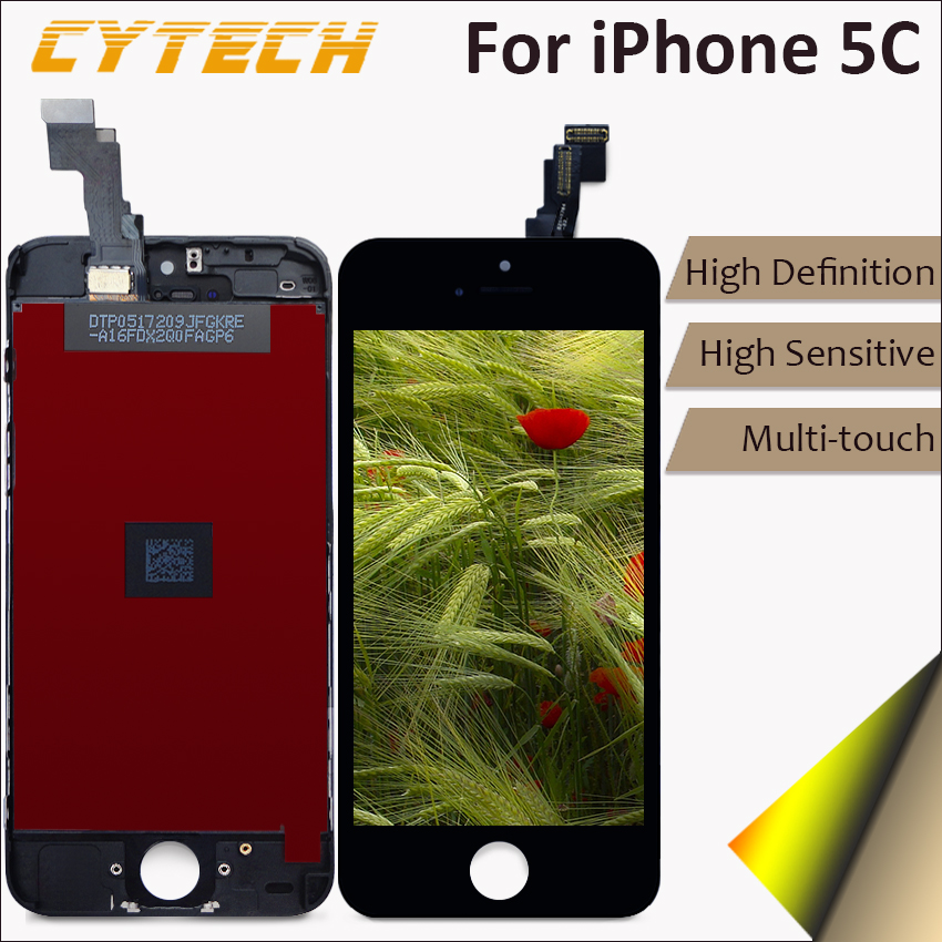 10PCS/LOT High Quality AAA LCD Screen For Apple iPhone 5C Display Touch Screen With Digitizer No Dead pixel 4.0 inches Black DHL