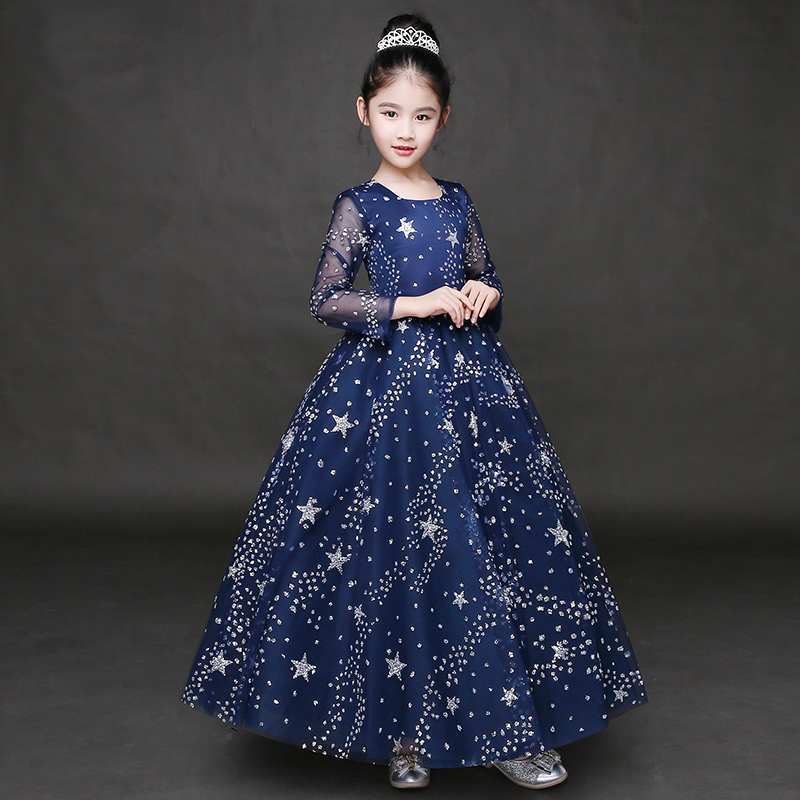 Luxury Princess Girls Dress Luxury Lace Embroidery Prom Party Kids Dress For Girl Summer 2017 Flower Girls Dress For Wedding P31 girls embroidery detail contrast lace hem dress