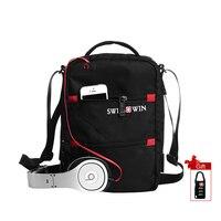 Swisswin Messenger Shoulder Bags For Men Black Mini Crossbody Bag Casual Oxford Messenger Satchel Handbag Music