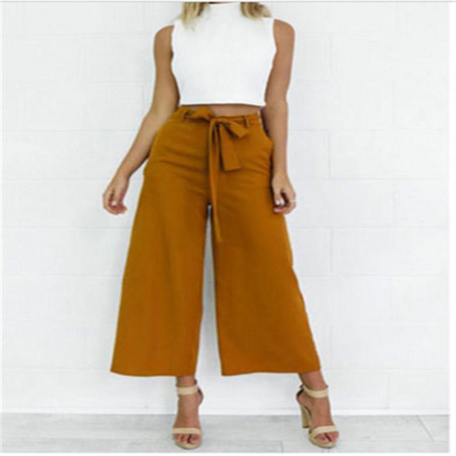 923a5e884350f high waisted formal palazzo pants women bow tie elegant wide leg pants for  work ladies female