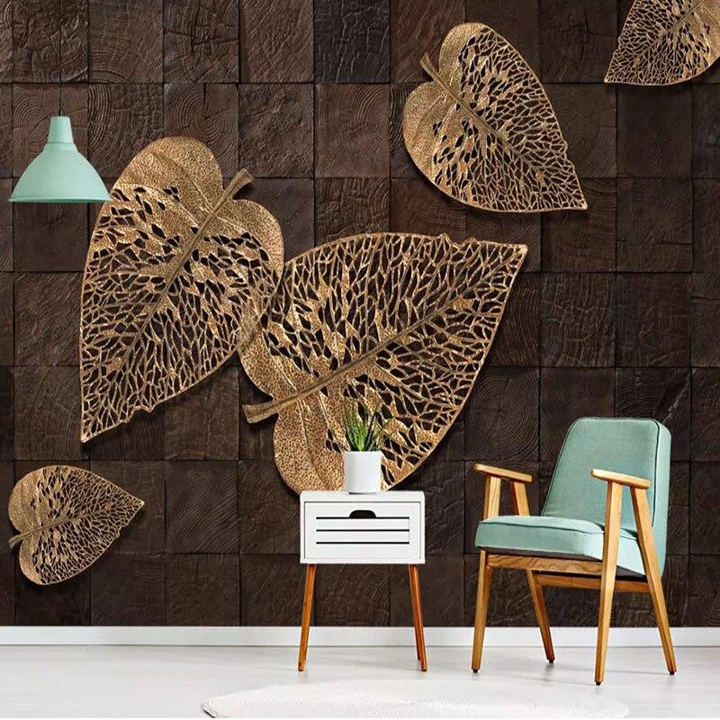 Custom Wall Covering European Retro Wood Grain Golden Leaves Photo Wallpapers For Living Room Bedroom Fresco Papel De Parede 3D