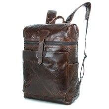 Maxdo Vintage Coffee Real Skin Genuine Leather Men Backpacks Cowhide Man Travel Bags #M7342