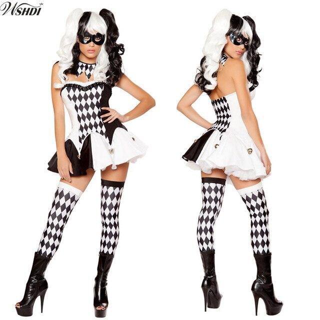 Schwarz Weiss Lattice Clown Kostum Halloween Cosplay Kostum