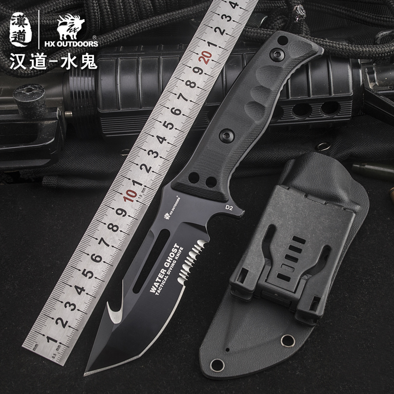 HX OUTDOORS survival knife D2 blade multi-function camping saber tactical fixed knife hunting tools brand fixed knife hand tools hx outdoors survival fixed knife bamboo handle camping knife black blade saber tactical tools cold steel hunting straight knife