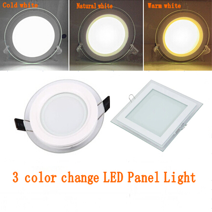 1pcs 3 Color Change Glass Led Panel Downlight 6w 12w 18w