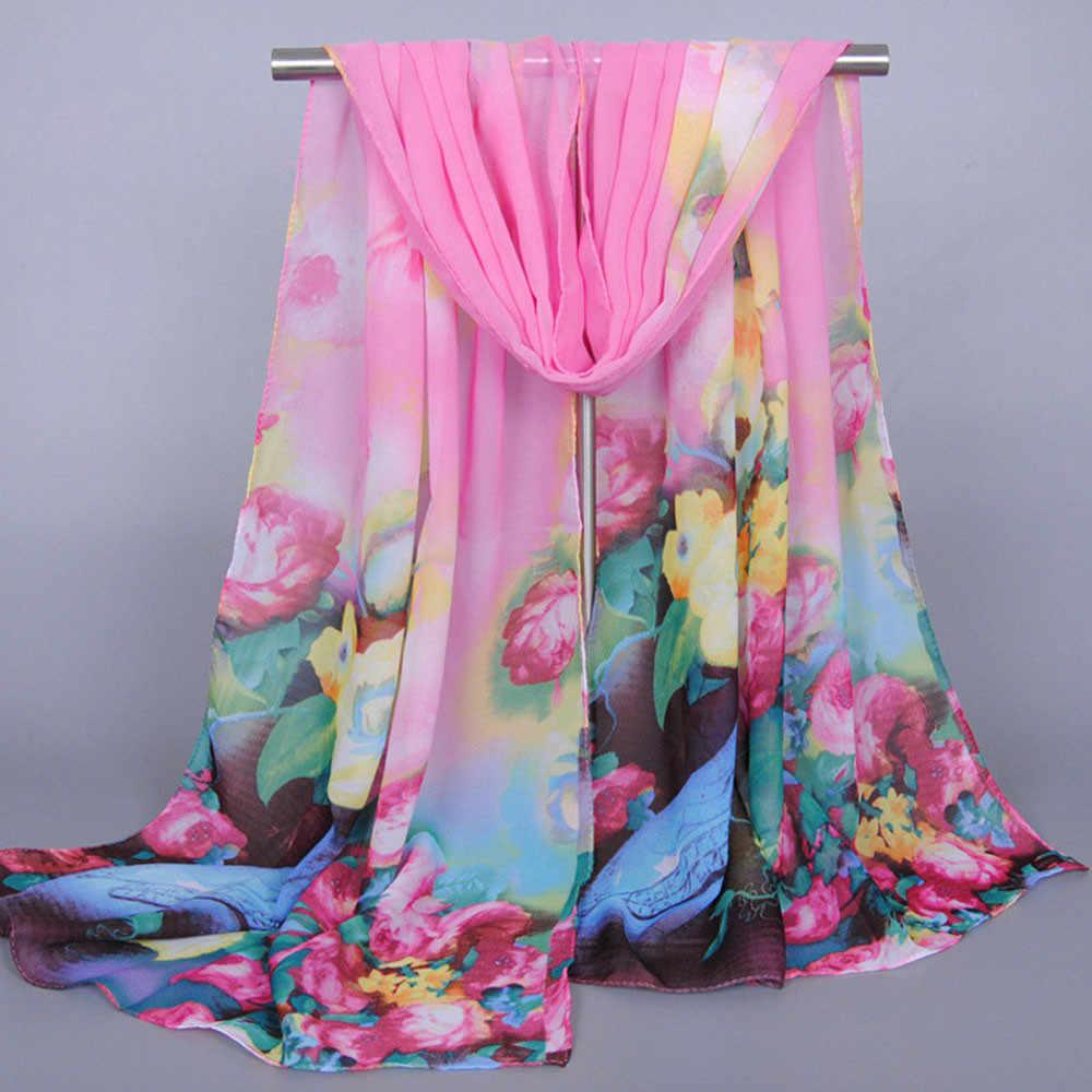 패션 여성 여성 스카프 긴 소프트 랩 스카프 숙녀 목도리 쉬폰 태양 보호 스카프 새로운 디자이너 우아한 스카프
