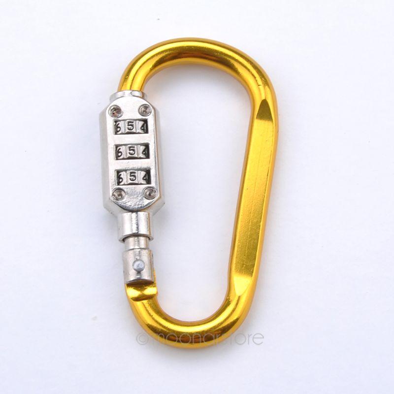 Carabiner padlock lock Travel Combination Security 3 Dial Luggage Bag Suitcase Random Color