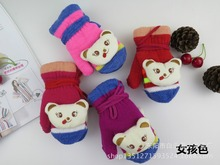Children bag neck hung gloves 1 to 6 yeas Cartoon bear head knitted gloves Boys and girls bag gloves
