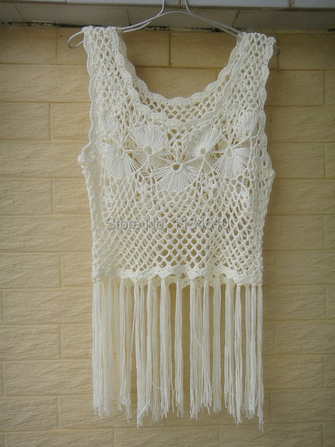 White Crochet Vest Festival Vest Bohemian Elongated Fringe Vest