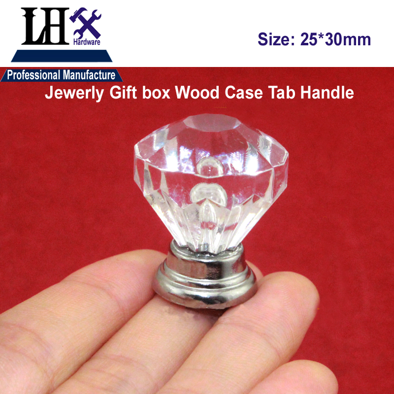 LHX Christmas Supplier 2pcs Crystal Funiture Handle Tab for Women Jewerly Gift Box Drawer Cabinet Knob Decorative DIY Hardware i