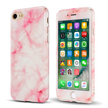 CreatValu Hybrid 360 Full Body Shockproof Marble Hard PC Case+Tempered Glass Cover For iPhone 7 7 8 Plus 6 6s Plus
