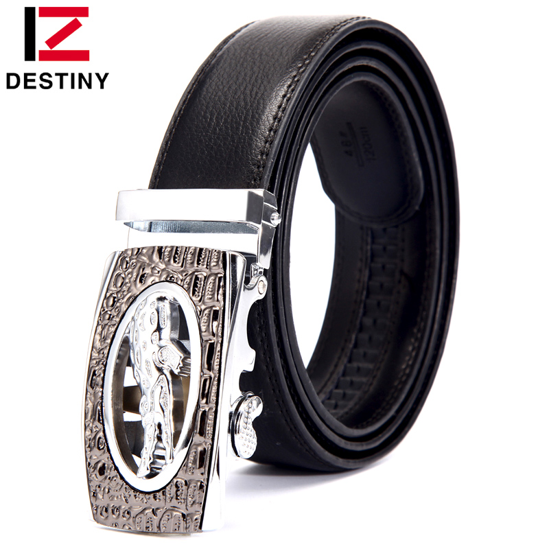 DESTINY Silver Men Belt Luxury Famous Brand Designer High Quality Male Genuine Leather Strap Automatic Ceinture For Cowboy Jeans