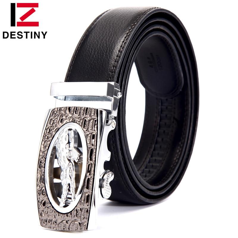 DESTINY Silver Men Belt Luxury Famous Brand Designer High Quality Male Genuine Leather Strap Automatic Ceinture For Cowboy Jeans