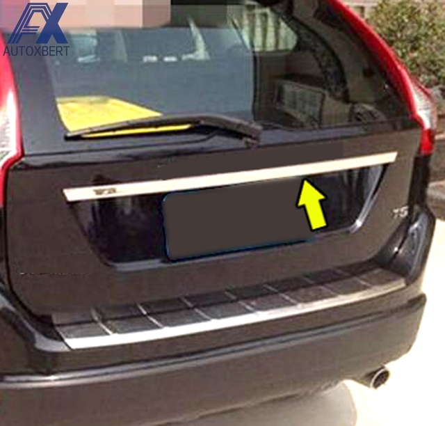 AX FOR VOLVO XC60 2009 2014 Molding Tailgate Door Handle Strip Accent Garnish Styling Chrome Rear Trunk Tail Gate Cover Trim