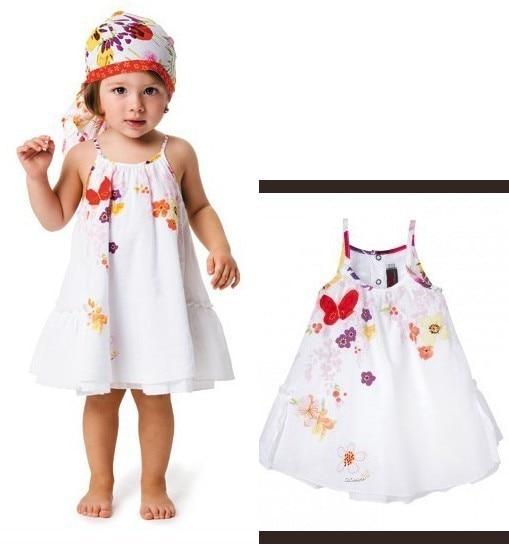 New Baby dresses Girls Butterfly flower Patch embroidered Dress princess shoulder-straps dresse Designer clothing wholesale