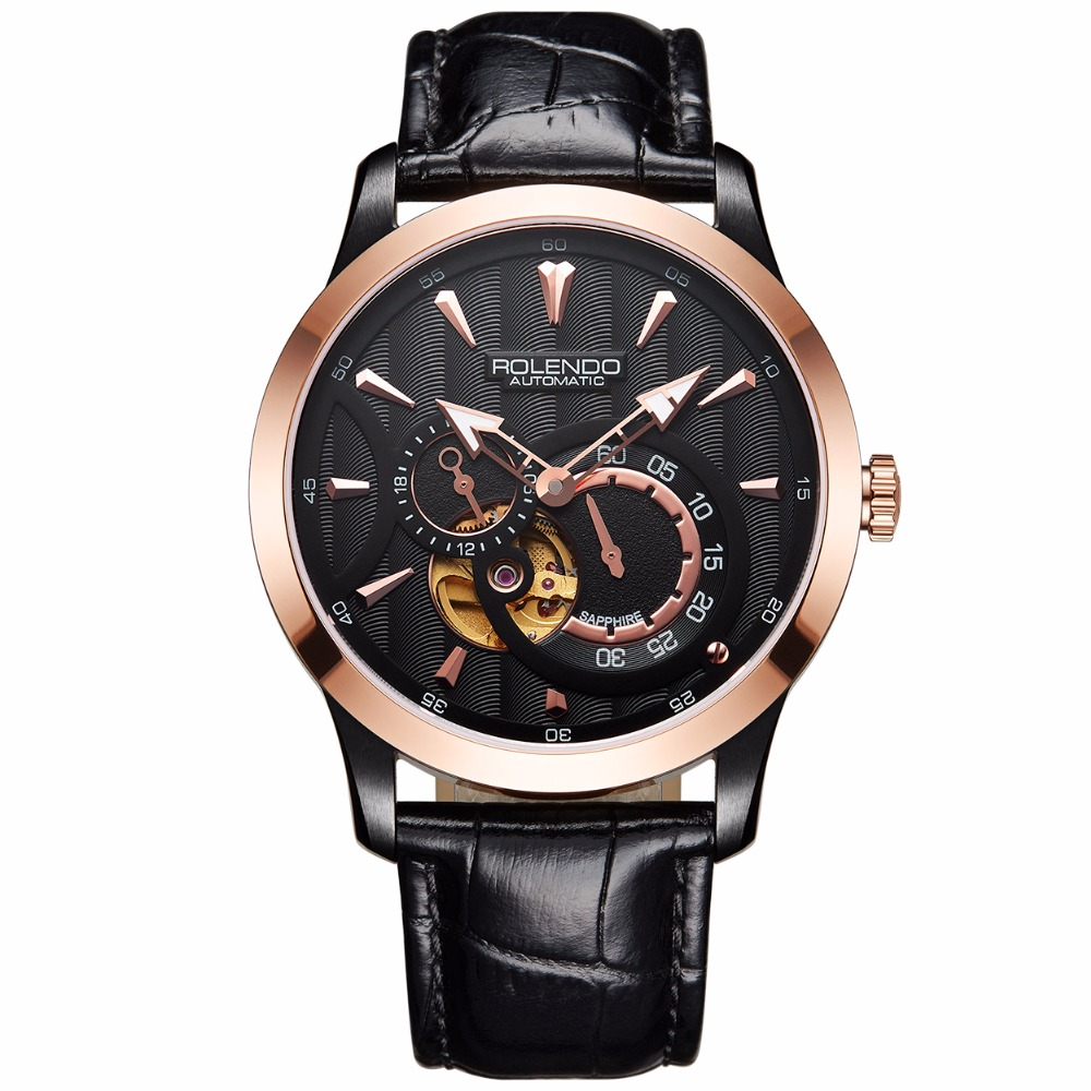 Rolendo 2018 Top Brand Luxury Hot Sale Automatic Mens Watch Skeleton Steel Gold Case White Waterproof Man Mechanical Watches цена