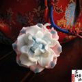 Chinoiserie ethnic style Hand-made ceramic Peony flower necklace from Jingde Town