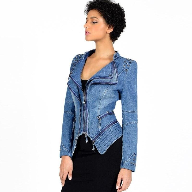 6xl Chaqueta Denim blanc Manteau Femmes Vintage Filles Vêtements Luxe Taille Biker Max Minces Femme Grande Veste Lulu Automne bleu vert Mujer Noir Bomber Jeans Fw8Pf8qH