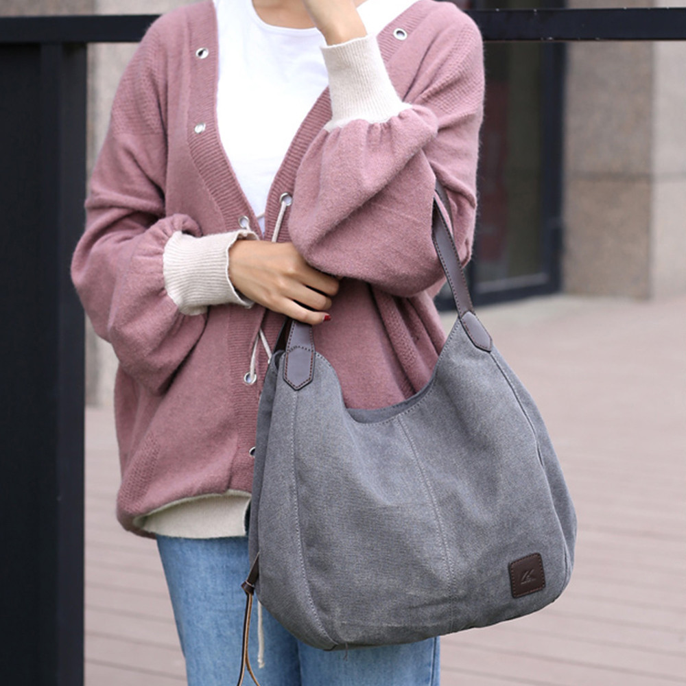Frauen Leinwand Handtaschen Weibliche Großen Eimer Messenger Schulter Tasche Zipper Reise Schule Taschen Weiche Armbänder Für Mädchen Elegante