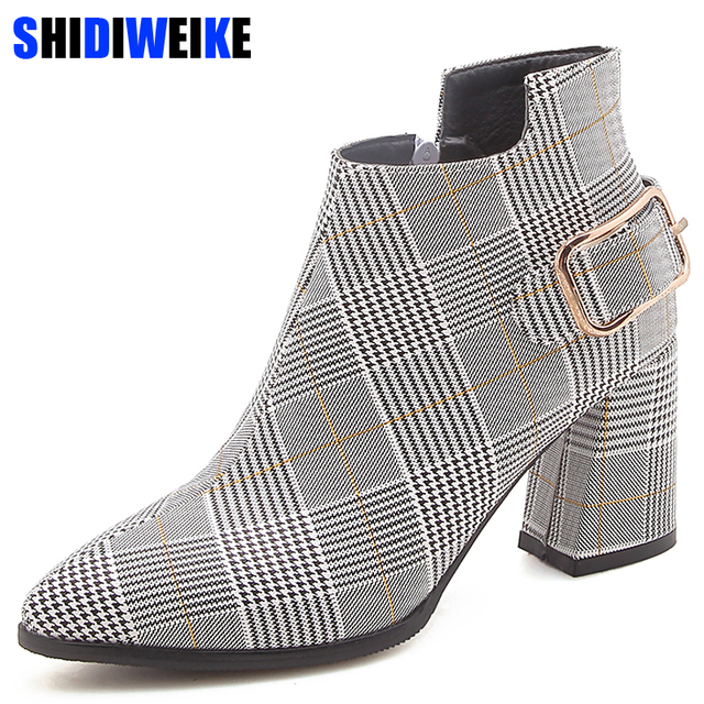 2019 Large Size Women Boots Fashion Plaid Pointed Toe High Heels Women's Shoes Sexy Autumn Winter Ankle Boots female n245 1