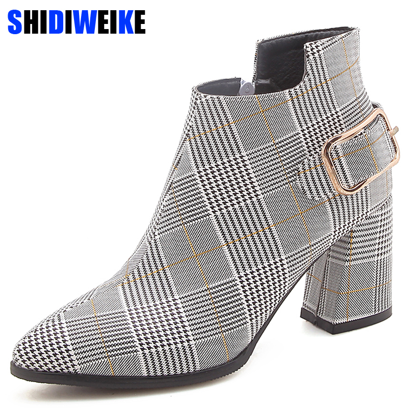 2019 Large Size Women Boots Fashion Plaid Pointed Toe High Heels Women's Shoes Sexy Autumn Winter Ankle Boots female n245