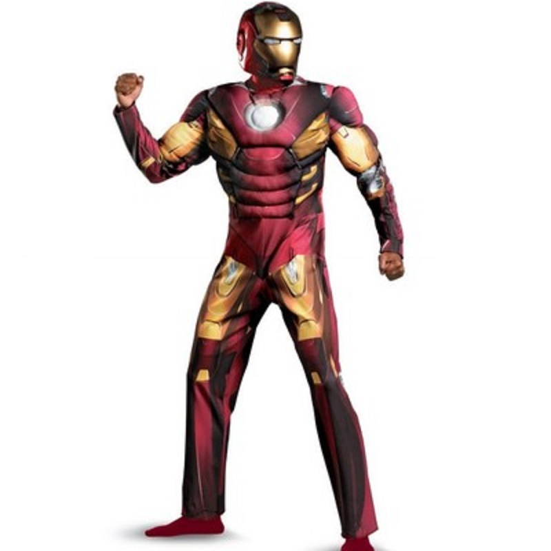 Humor Iron Man Costume Cotton Muscle Costume Adult For Women Cosplay Helmet Boys Adulto Suit Halloween Costume For Kids Avengers Men