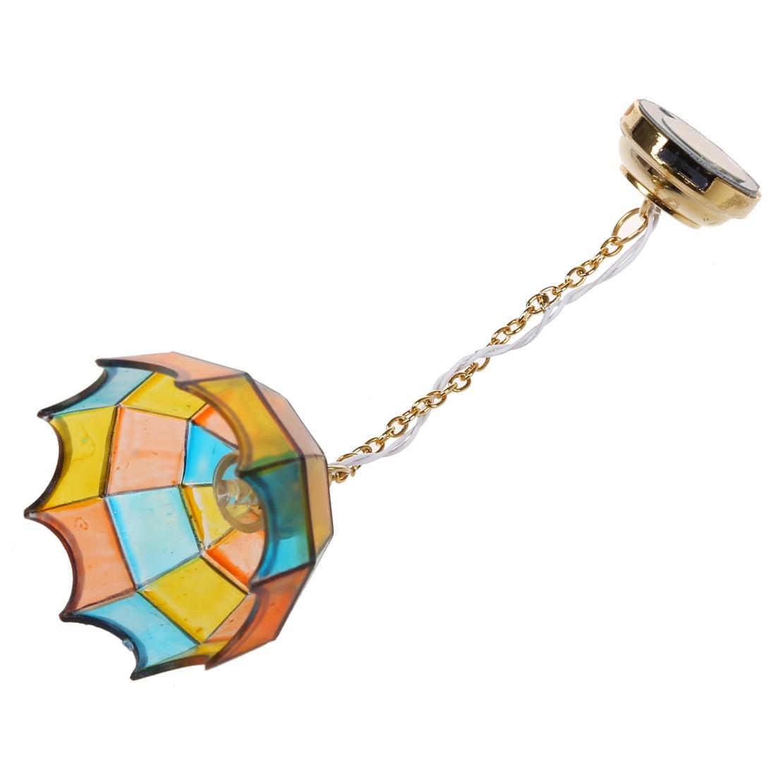 Metal 1:12 Dollhouse Miniature Ceiling Lamp Model With Multicolor Umbrella Shape Lampshade