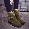 Mujeres Knit Knight Botines Otoño Invierno Cálido Casual Zapatos de Mujer Botas Aumento de la Altura Del Tobillo Más Nuevo Del Remache Hebilla de la Armadura