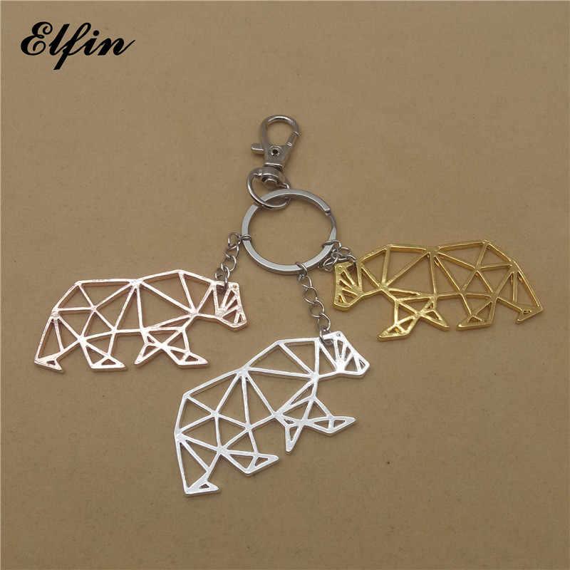Elfin Origami Gấu Keychains Vàng Màu Bạc Màu Geometric Đồ Trang Sức Origami Gấu Đồ Trang Sức Key Rings Đối Với Phụ Nữ Người Đàn Ông