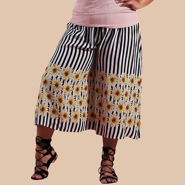 fb20270d834 New Women Cropped Wide Legs Pants Striped Floral Printed Elastic High Waist  Plus Size 4XL Crop Summer Trousers Pantalon Femme