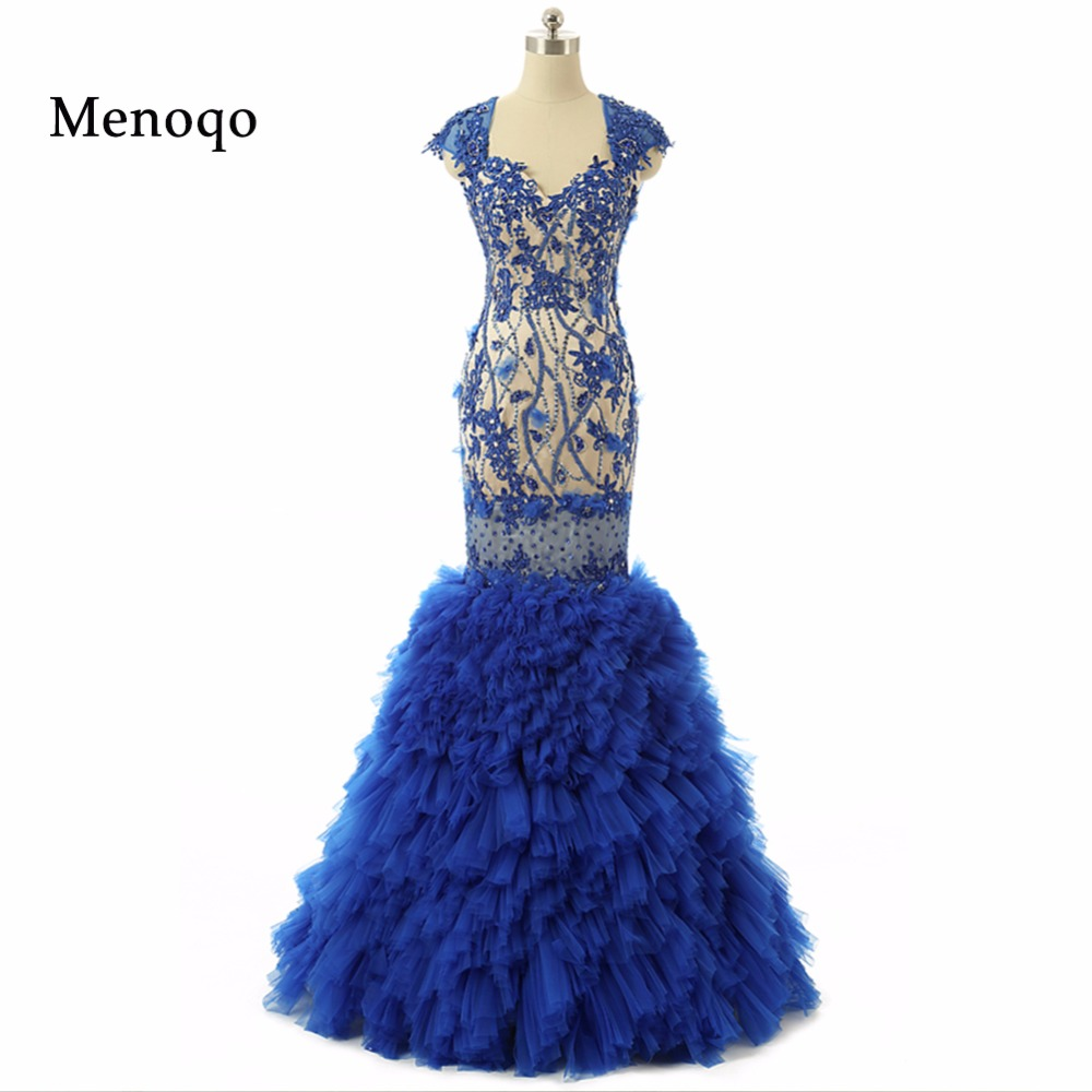New Fashion Sexy Formal Evening Party Gowns Cap sleeve Sweetheart Applique Beaded Mermaid prom dresses Real Photos 2017