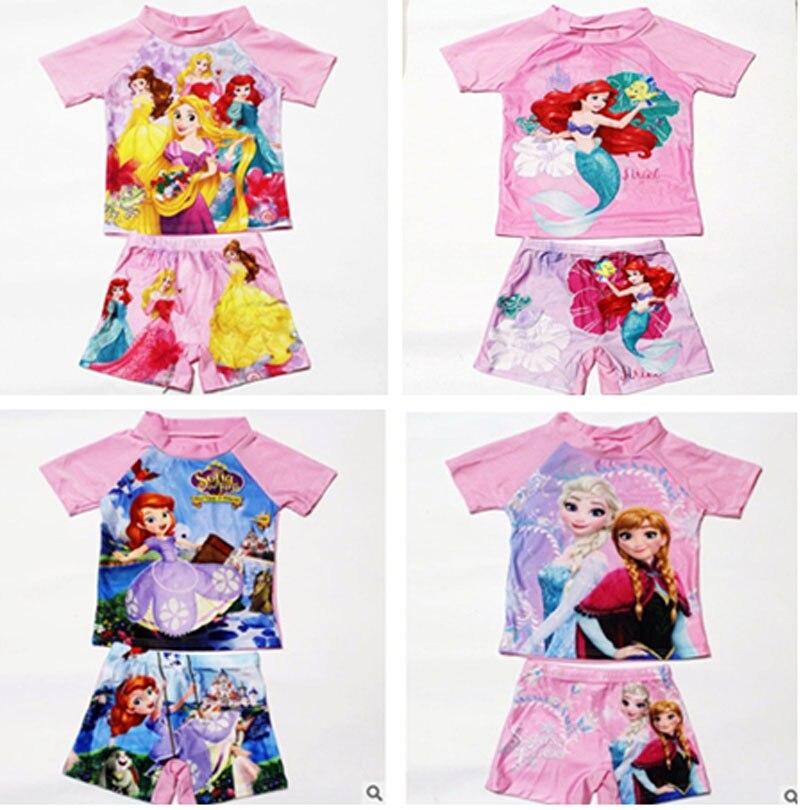 2-11Years Kids Teen Boys Girls Swimwear 2pcs Swim Suit( T Shirt+ Trunk) Beach Swimsuits Bathing Suit Princess Elsa Anna Mermaid