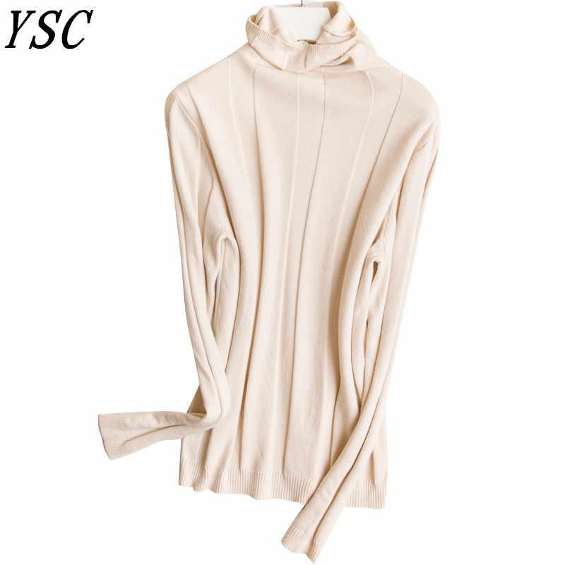 Ysc 2018 겨울 새 패턴 숙 녀 니트 캐시미어 울 혼합 스웨터 높은 칼라 순수 컬러 구 덩이 부드러운 따뜻한 풀 오버