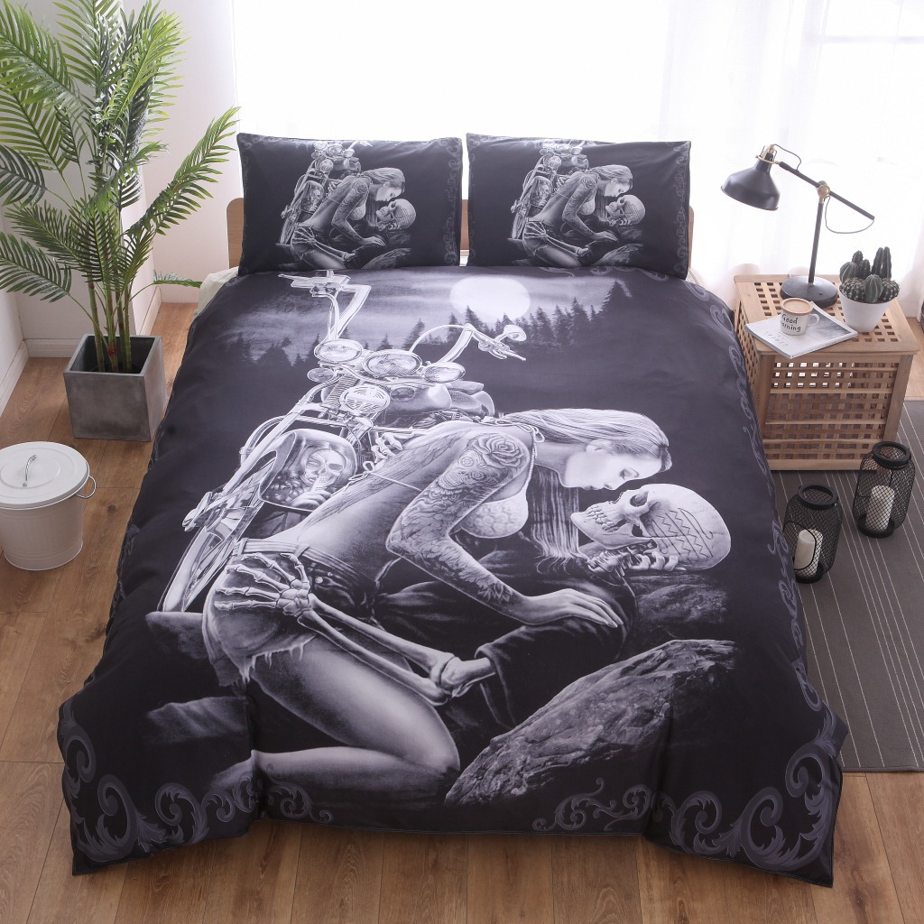 3D Cool Fashion Motorcycle Skull Punk Rose Home Textile Duvet Cover <font><b>Pillowcase</b></font> Red Rose Beauty Kiss Skull Duvet Cover Set C image