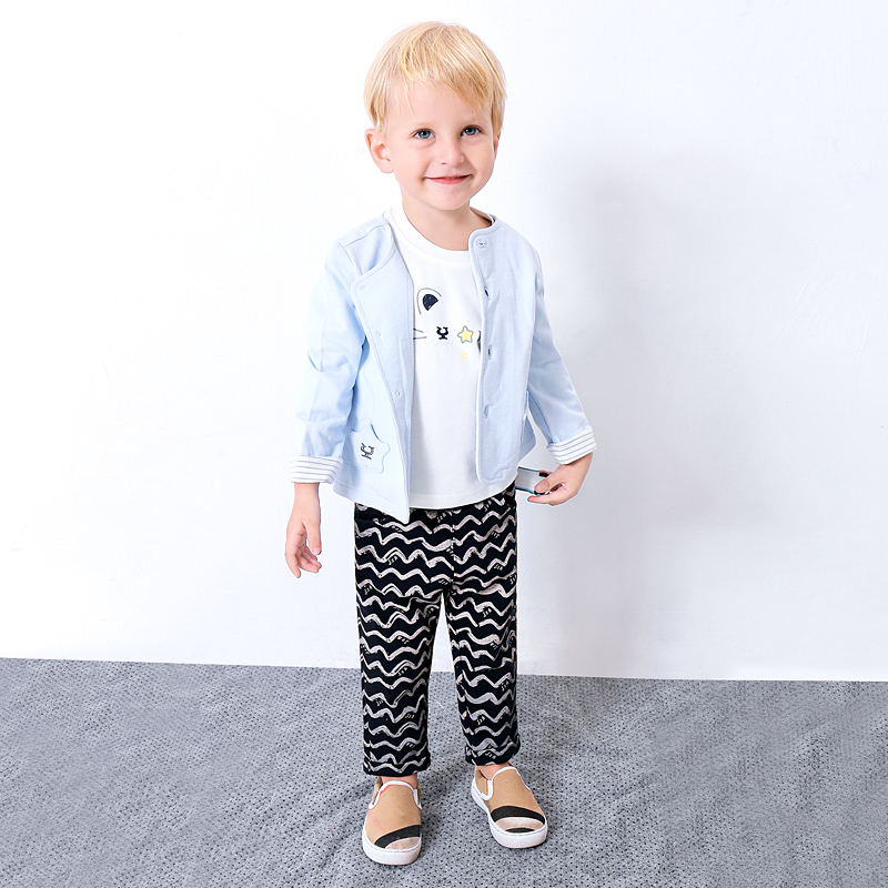2018 New 3pcs Toddler Kids Cool Baby Boy Cartoon Sleeve T-shirt Tops+ Wave Pants + Jacket Outfits Clothing Set kids baby boy long sleeve gentleman t shirt tops long pants 2pcs outfits clothing set hot