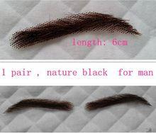 man style 1 pair false eyebrows fake eyebrow sticker 100% human hair hand made nautre looking black eyelash extension