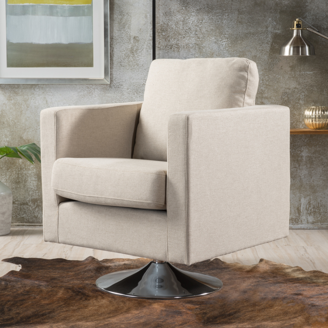 Hahn Modern Cream Fabric Swivel Armchair ...