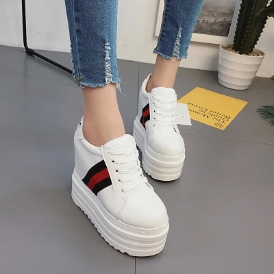 Women Casual Shoes Height Increasing Platform Wedges Women's Shoes Trainers High Top Canvas Shoes Walking dropship