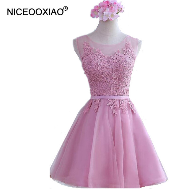 1978420a28c NICEOOXIAO Robe De Soiree Pink Short Evening Dresses Lace Embroidery  Perspective Backless Fashion Party Bride Prom Formal Dress