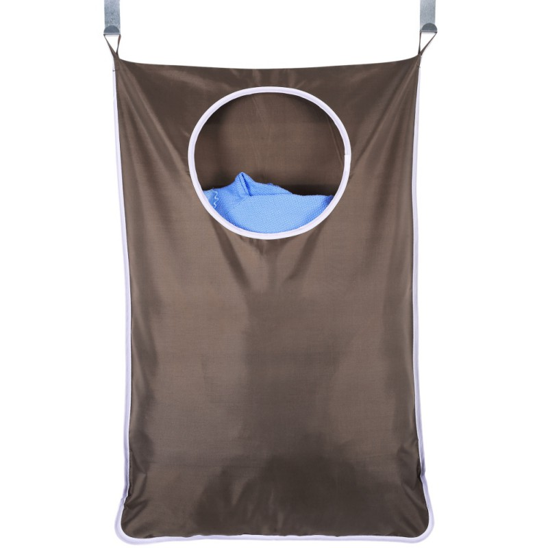 Large Wall Hanging Laundry Hamper Bag Bathroom Bedroom Oxford Fabric  Zipper Thickening Storage Bag With Hooks Suction Cups Laundry Bags     - title=