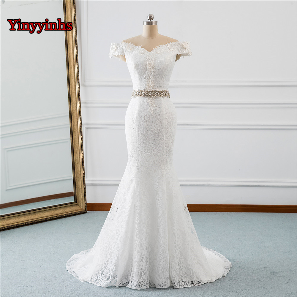 In Stock Off Shoulder White Ivory Lace Wedding Dresses 2018 with Pearls Bridal Dress Marriage Customer Made Size GHS10