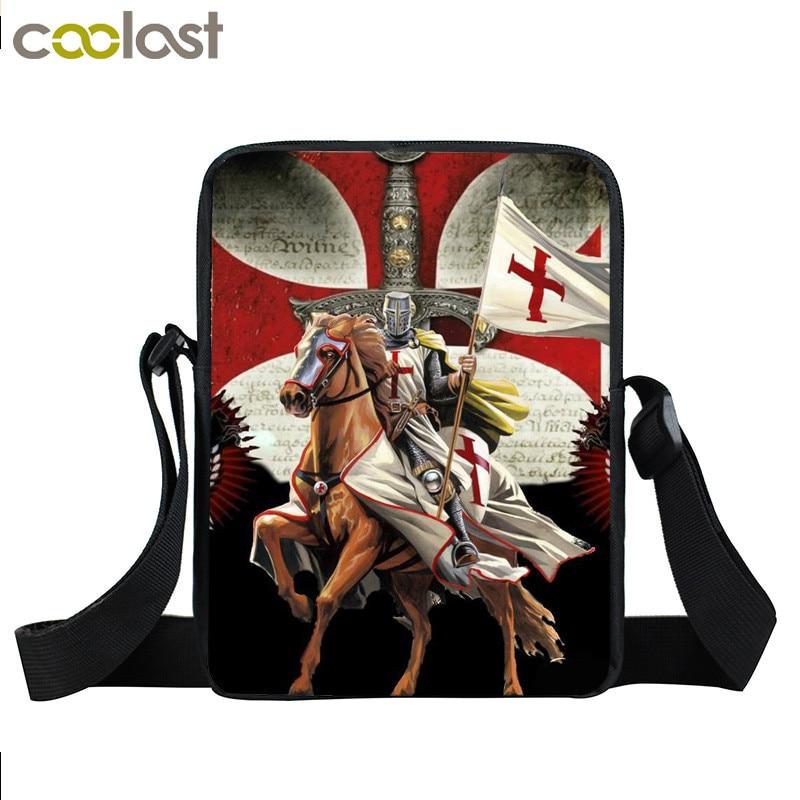 Crusader Knights Templar Mini Messenger font b Bag b font Men Distressed Cross Shoulder font b