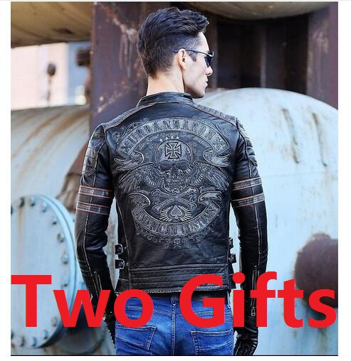 Free shipping.Brand mens skull men's top genuine Leather biker jacket.motorcycle homme Fitness chaqueta hombre cuero,DHL