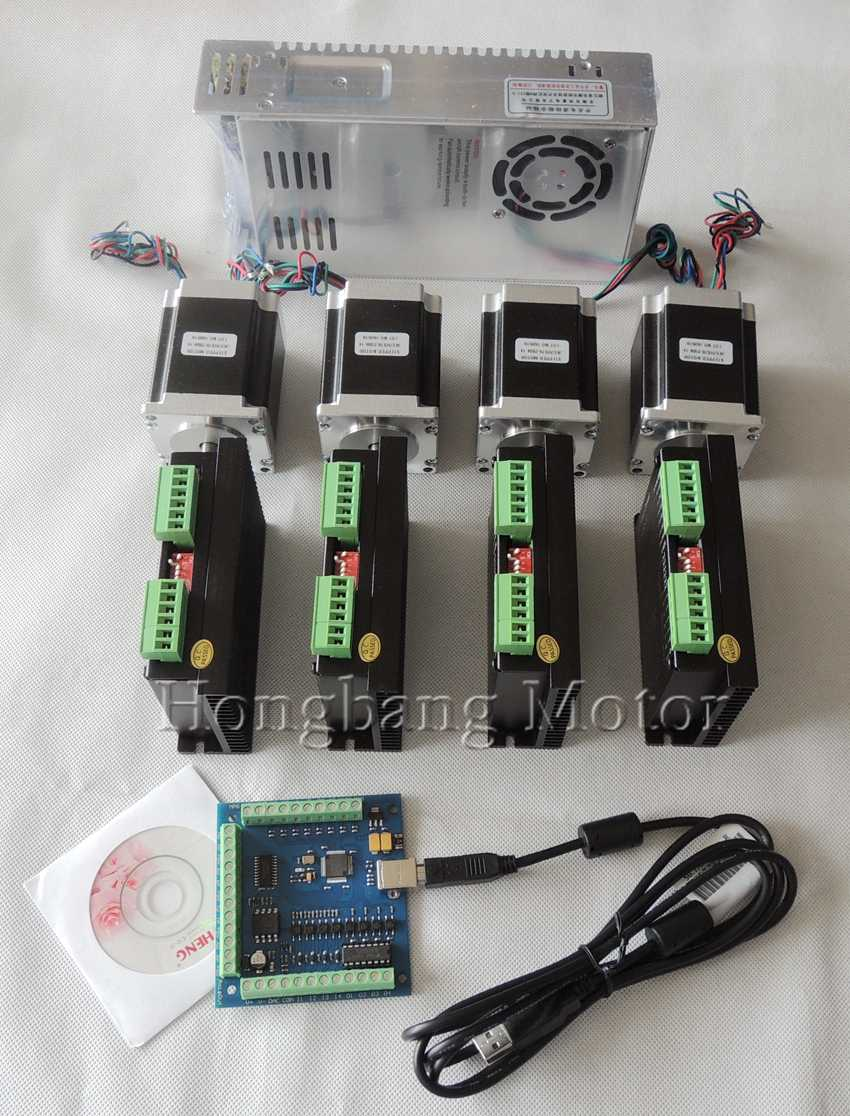 Ship from EU,CNC USB 4 Axis Kit, 4pcs TB6600 stepper motor driver+mach3 USB control card+4pcs nema23 270oz-in motor+power supply