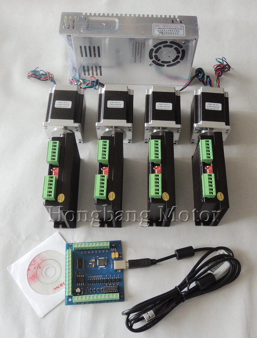 CNC USB 4 Cnc-5-achsen-kit, 4 stücke TB6600 steppper motor fahrer + mach3 usb controller 100 KHz + 4 stücke nema23 unzen-in motor + stromversorgung