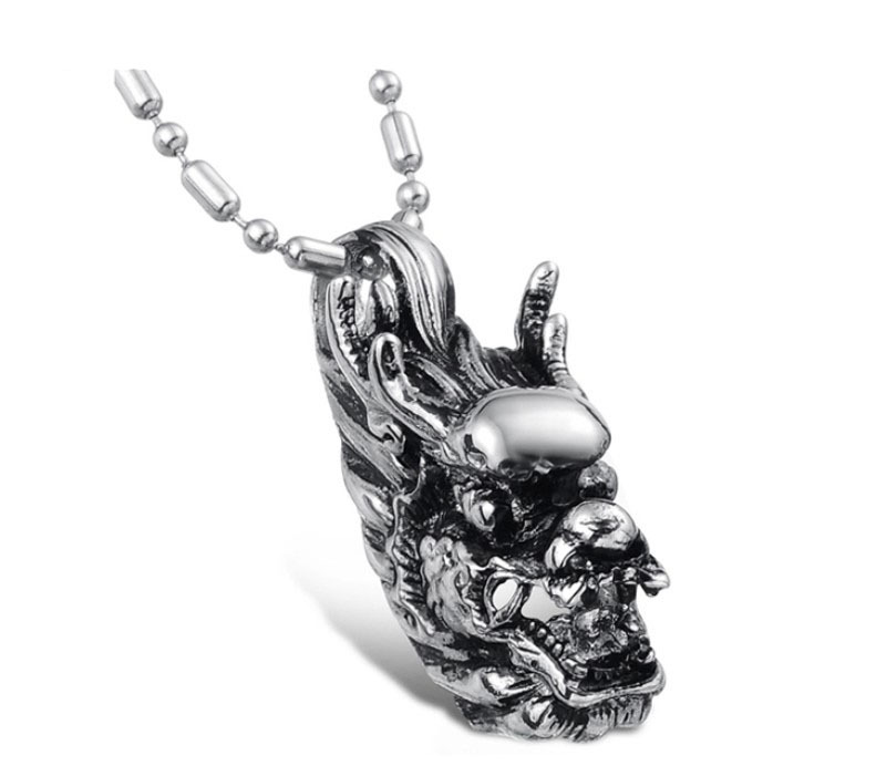 Wholesale Retail! Fashion Jewelry Stainless Steel Silver Dragon Head Pendant Neklace For Men & Women, Lowest Price Best Quality
