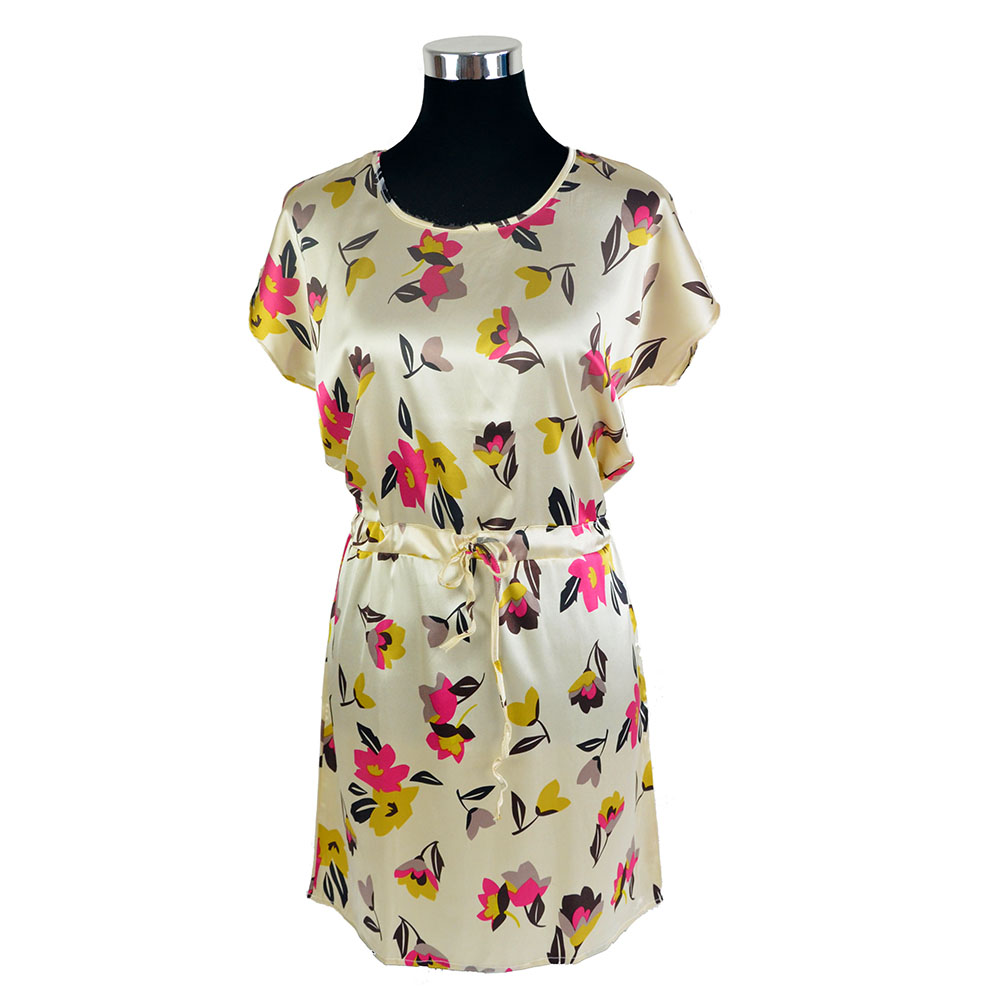 [ DEFECT ] 100% Silk Satin Dress Flower Printed Women Summer Dresses Clearance Sales